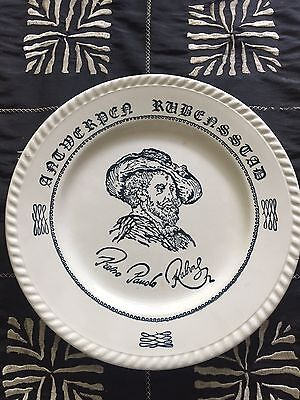 """Souvenir plate Peter Paul Rubens; navy blue and white 7""""; made in France"""