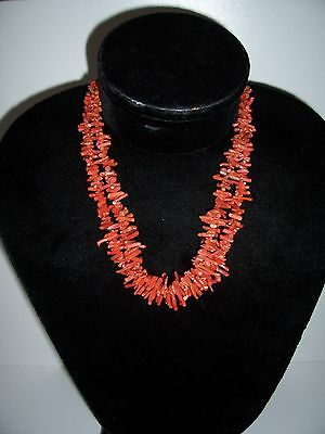 Antique Victorian Natural Red Salmon Coral Branch Double Strand Necklace