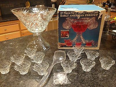 Anchor Hocking Early American PresCut Glass Punch Bowl with Pedestal 24 Cups