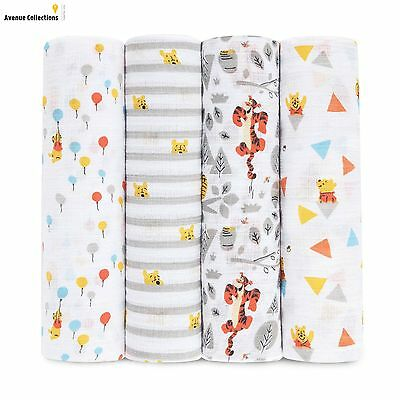 aden by aden + anais muslin swaddle blanket 4-pack- Winnie the Pooh (112 x 112cm