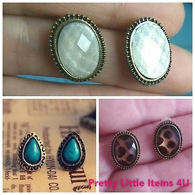 Vintage Style Retro Women Round Oval Crystal Stud fashion Earrings