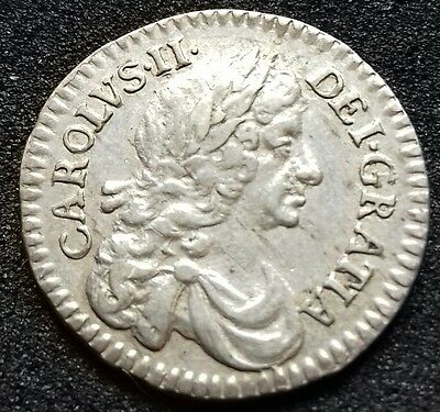 1677 Charles 11  Twopence. S.3388. Charles 11 British Silver Coins.