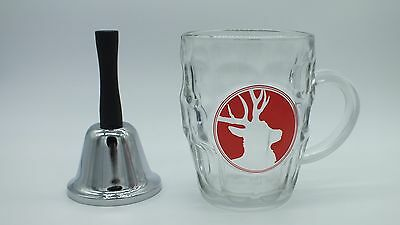 "Glass Beer Tankard ""Deer"" with Metal Bell"