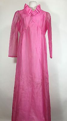 Vintage Pink Dress Ruffle Maxi Long 1960s Cocktail Sheer Sleeve Empire Waist