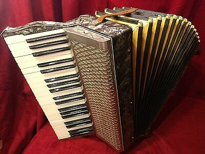 Vintage Pre-War Piano Accordion Silver Hohner LMMM 41/120 FOR PARTS OR REPAIR