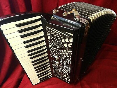 Vintage Piano Accordion Black Robotti LMMM 41/120 PARTS OR REPAIR