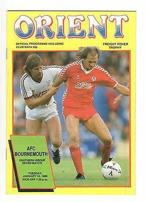 Orient v AFC Bournemouth 1985 - 1986  Freight Rover Trophy