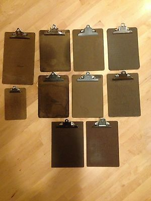 Vintage Lot 10 Mixed Brand Wooden Masonite Clip Boards Legal Letter Memo Sizes