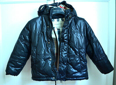 Authentic Burberry Toddler Girl Winter Puffer Black Checker Jacket (3 Years)