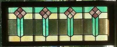 Antique Arts & Crafts Transom Window Textured & Stained Slag Glass c1915 Mint
