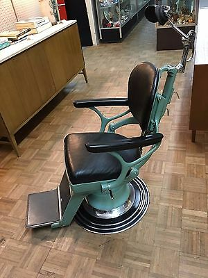 c1930's Vintage Green Ritter Hydraulic / Adjustable Dentist Chair - Near Mint!