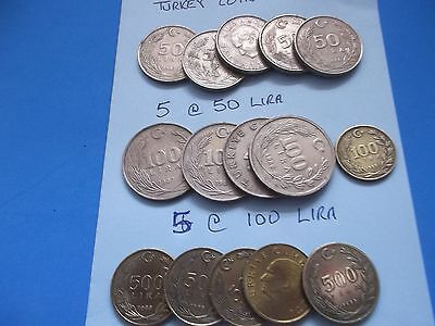 Job Lot Of 15 Coins Of Turkey Mix Of 50+100+500 Lira [#h973]