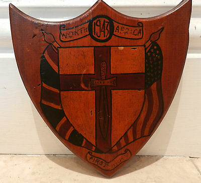 Hand Painted Wooden Shield Plaque - North Africa First Army 1943 - Good Condit.