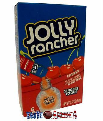 Jolly Rancher Cherry Flavour Singles To Go 6 Sachet Drink Mix 16g Box