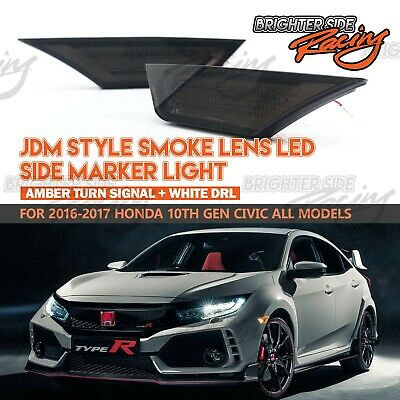 Fit 16-Up Honda Civic Side Marker Led Turn Signal Lights Blue Halo Smoked Lens