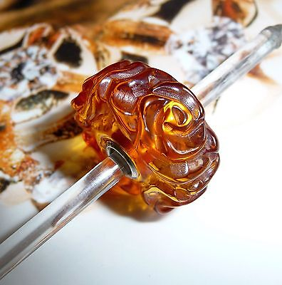 Trollbeads Unikat Unique Limited Jumbo Giant Xxl Carved Amber Bernstein Rose