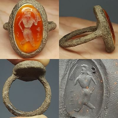 Medieval Type   Agate Intaglio Stone Ring