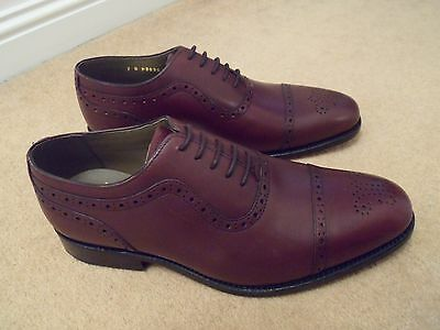 New George Webb Brown Leather Goodyear Welt Oxford Brogue Shoes Uk 7 G Eu 41