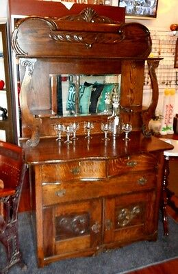 Antique Wood Sideboard Buffet Cabinet Cupboard Mirror Shelf Drawers Doors