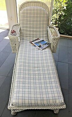 RARE Vintage White Wicker Chaise Lounge Custom Cushion 1940's