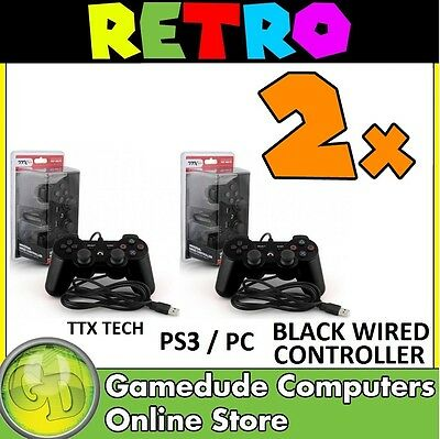 2x TTX Tech PS3 / PC BLACK Wired Controller MODEL : NXP3-050 (849172004252) F05