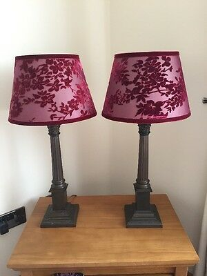 Pair Laura Ashley Table Lamps and Shades Vintage