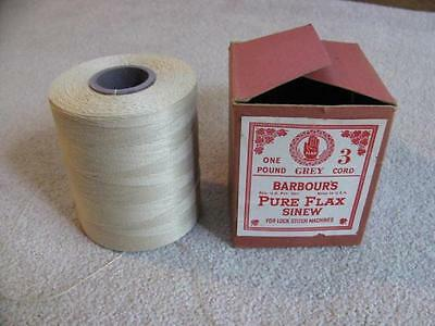 BARBOUR'S Pure Flax Sinew 1 lb Gray 3 Cord For Lock Stitch Machines Linen Thread