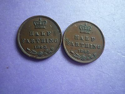 Gt Britain - Good Collectable 1843 & 1844 Victoria Bronze Half Farthings