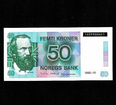 Norway, 50 Kroner 1995, P-42f, Unc * Serial Number in Black Background *