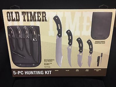 Old Timer Limited Edition 5 Piece Hunting Knife Set Woven Fabric Case Outdoor