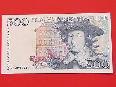 Sweden ( 1985-86 ) 500 Kronor Extremely Rare Bank Note, Gem Unc