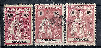 Angola.  1921.  Ceres Definitive.   SG322a-324.  Used.