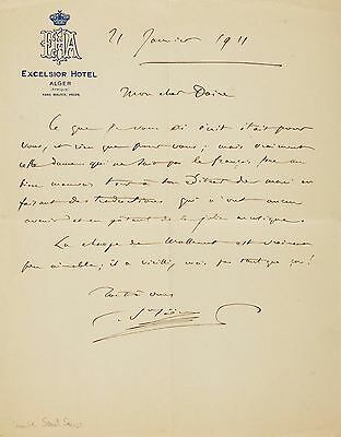 French Composer Camille Saint-Saëns Autograph Letter Signed Dated 1911