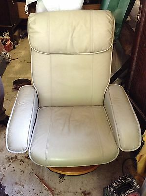Vintage Scotts & Co Electric Massage Swivel Recliner Chair & Footstool