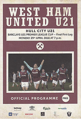 West Ham United U21 v Hull City U21 25/4/16 Premier League Cup Final 1st Leg