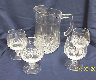 Clear Cut Glass Pitcher/ 4 Crystal Brandy Glasses by D'Arques Durand Longchamp