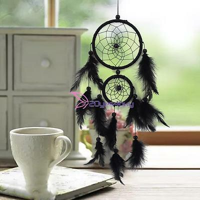 Double Ring Black Feather Dream Catcher Wall Hanging Home Car Decor Craft Kit