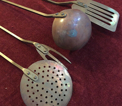 1800's ANTIQUE HAND CRAFTED COPPER KITCHENWARE UTENSIL SET - FIVE PIECES
