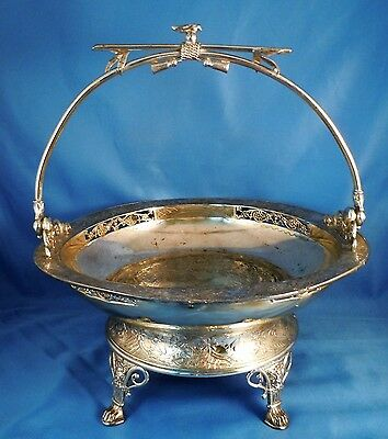 """Silverplate! - Antique Ornate Basket W/ Handle Derby Silver Co., Engraved """"day"""""""
