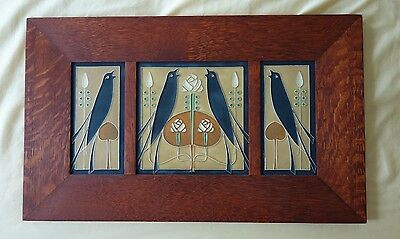 Motawi 3 Tiles in a Family Arts & Crafts in a Quater Sawn Solid Oak Frame