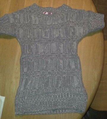 Girls PINK ANGEL M  10/12 Grey Short Sleeved Woven SWEATER SHIRT Trendy Top EUC