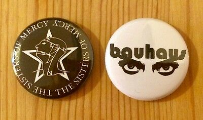 The Sisters Of Mercy / Bauhaus - Set Of 2 Button Pin Badges
