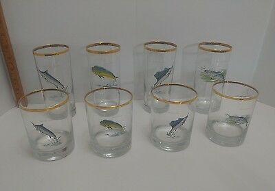 Vintage signed Ned Smith glass gold trimmed fish glasses tumblers highball rocks