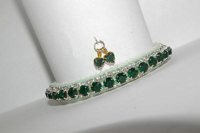 Emerald Mint Velvet Swarovski & Perciosa  Crystal Cat Collar
