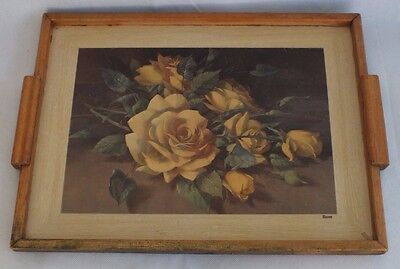"Vintage 1960's Wooden Serving Tray ""ROSES"" - 37 cm x 28 cm -  Kitchen Decor"