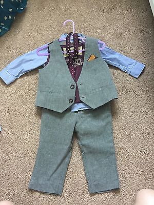 Next Boys Suit Christening Wedding Waistcoat Tie Trousers 9-12 Months