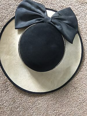 Vintage French Hat Black Bow  Noto 70s 80s