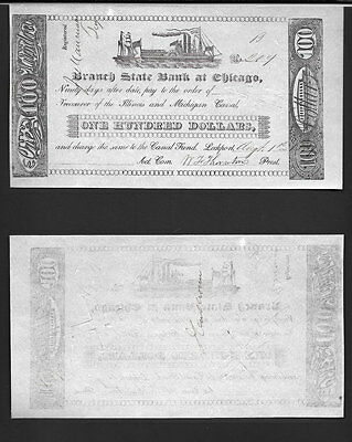 >>Very Rare<< $100 1839 >State Bank Of Chicago< Very Choice Au+ *cut/cancelled*