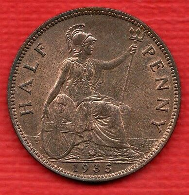 1935 KING GEORGE V HALFPENNY COIN IN BEAUTIFUL CONDITION. 1/2d. HIGH GRADE.