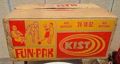 RARE 1960's VINTAGE KIST FUN-PAK 24-10 OZ. SODA POP BOTTLE CARDBOARD CARRY CASE